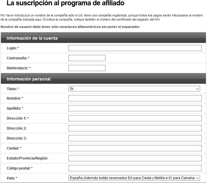 formulario de alta en la web