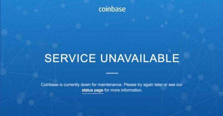 servicio caído e interrupciones en coinbase