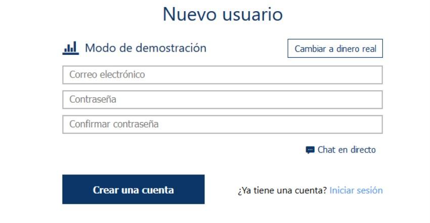 cómo darse de alta en una cuenta demo en español