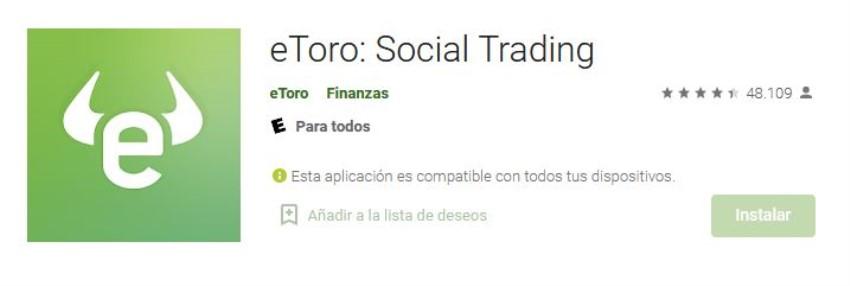 nota y calificación de la app de eToro